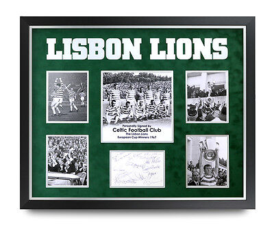 Lisbon Lions Celtic (x14) Signed 1967 Photo Large Framed 24x20 Autograph Display