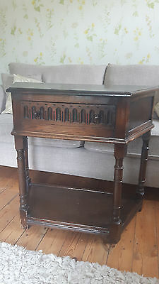 Antique Dark Oak Hall Side Table with Drawer