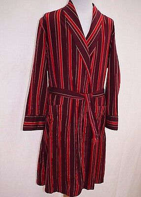 Stunning Vintage Derek Rose Glazed Cotton Dressing Gown Robe Smoking Jacket L