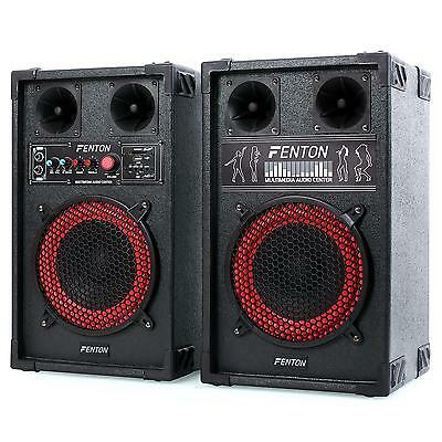 "Pa Karaoke Party Speakers 8"" Bass Hi-Fi Active Pa Speaker Set Usb Sd Mic Input"