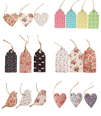Set of 12 Craft Floral Gift Tags Luggage Labels Gift Wrapping