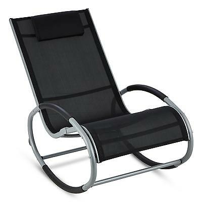 Blumfeldt Home Garden Patio Rock Chair Furniture Reclining Balcony Black