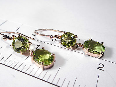 Fine Quality Antique 9Ct Rose Gold Peridot Drop Earrings