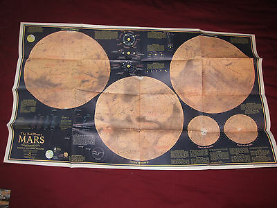 The Red Planet Mars National Geographic Map / Poster Feb 1973