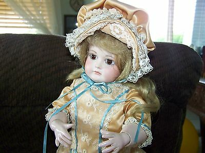 Artist Signed M Mosser 81  German Doll Repro  Jointed Beautiful Clothing 15 Inch