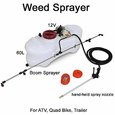 Weed Sprayer 60L Tank Boom 12V pump - garden farm atv trailer spot wand chemical