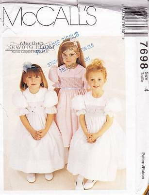 ~UNCUT McCall's Pattern 7698 Martha's Sewing Room Girls Formal Dress  S 4~