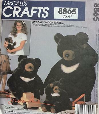 "~Vintage McCall's CRAFT Pattern 8865 Brooke's Moon Bears 35"",21.5"",15""~"