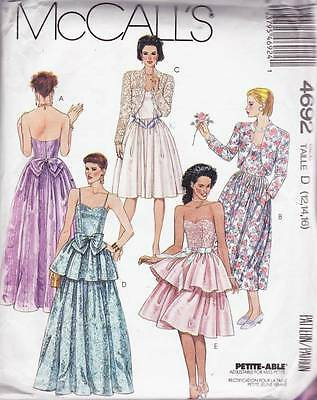 ~UNCUT McCall's Sewing Pattern 4692 Lined Jacket, Gown & Dress S 12-16~
