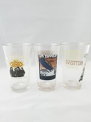 "(3) LED ZEPPELIN Very Rare 6"" Collectible Drinking Glasses STAIRWAY TO HEAVEN"""