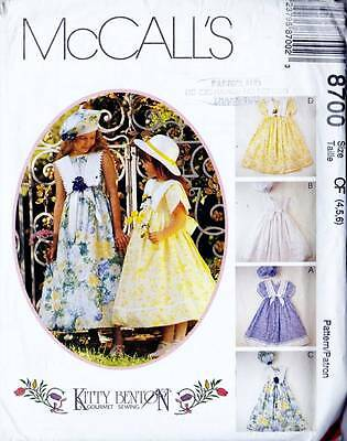 ~UNCUT McCall's Sewing Pattern 8700 KITTY BENTON Party Dress & Beret S4-6~