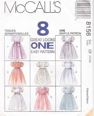 ~UNCUT McCall's Sewing Pattern 8156 Girls Eight Dresses & Veils S 4-6~