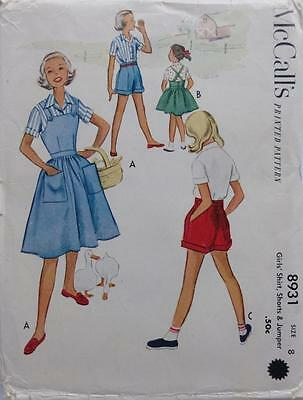 ~Vintage 50's McCall's Pattern 8931 Girls Shirt, Shorts & Jumper  Size 8~