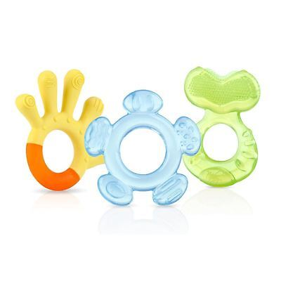 Nuby 3 Step Teether Set 3m+ Orange Blue Green