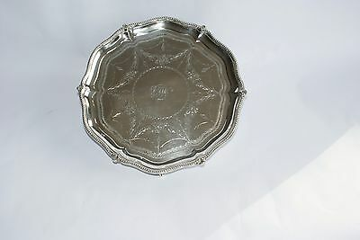 A Lovely Antique Solid Silver Salver - Robert Harper - 1869 London -23 cms dia.