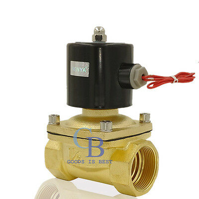 "DC 12V G1-1/2"" Brass Electric Solenoid Valve for Water Air Gas Normally Closed"