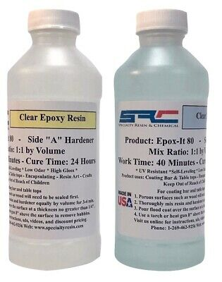 Crystal Clear Bar & Table Top Epoxy Resin For Coating Wood Tabletops 16 oz Kit