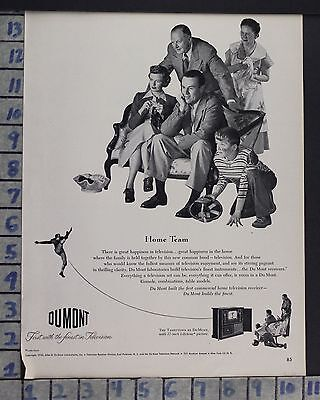 1950 Dumont Tarrytown Tv Television Sport Football Family Vintage Art Ad  Cr53