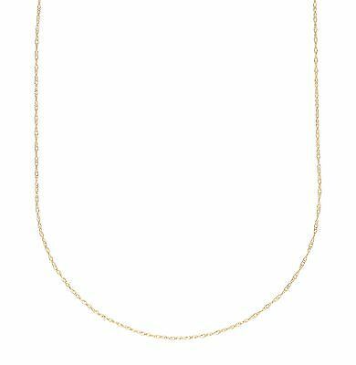 """14K White or Yellow Gold Ladies Thin Rope Chain Pendant Necklace 0.4MM 13"""" - 22"""""""