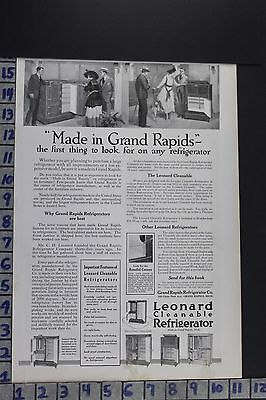 1918 Household Kitchen Leonard Refrigerator Grand Rapids Mi Vintage Ad Ec033