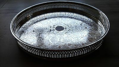 """VINTAGE CAVALIER SILVER PLATED PIERCED GALLERY TRAY ETCHED GADROONED RIM 11"""" Dia"""