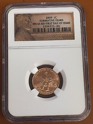2009 NGC MS-66-RD Formative Years Lincoln BiCentennial Cent First Day Of Issue