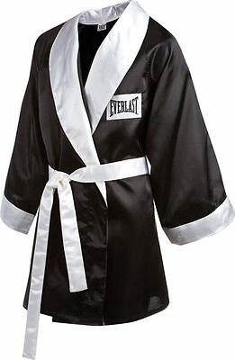 New Everlast Boxing Satin Robe 3/4 Fingertip Length Size: X-Large Color: Black