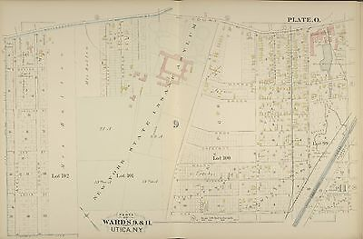 CITY HALL POLICE STATION FAYETTE ST TO COURT ST ATLAS MAP 1883 UTICA NEW YORK
