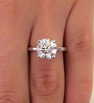 2 Ct Round Diamond Engagement Ring Solid 14K White Gold Solitaire Rings Size 7
