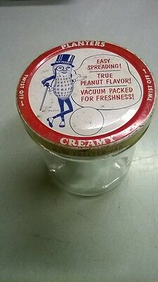 Antique Planters Creamy Mr Peanut Butter Freezer Jar & Tin Litho Lid Vintage Old