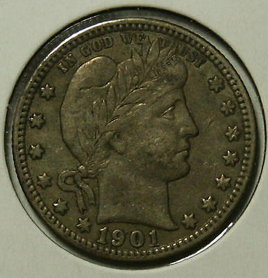 1901-O  Barber Quarter  Choice VF+