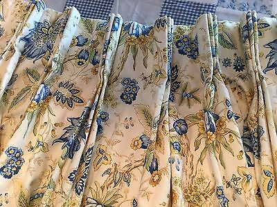 Gorgeous Schumacher Pair Of Pinch Pleat Drapes,yellow&blue French Country