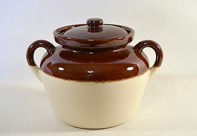 Vintage McCoy USA Stoneware Tan Brown Double Handle Bean Pot Jar #342