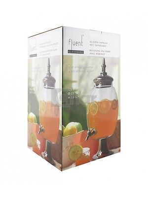 7,5l Glasfass Getränkespender Cocktail Bowle Saftspender Saft Dispenser Party