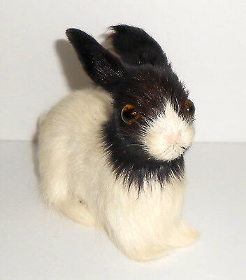 Vintage RABBIT Figure Real Fur and Glass Eyes Black and White Bunny 3.5 Inches