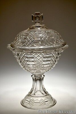 c. 1891 No. 4778 MALTESE AKA JACOB'S LADDER Bryce Walker CRYSTAL Compote w/Cover