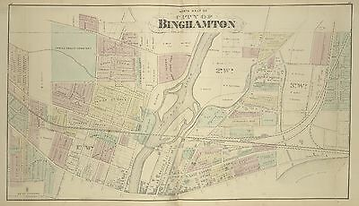1876 Broome County, North Binghamton, Ny, Spring Forest Cemetery, Copy Atlas Map