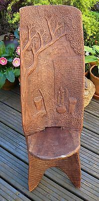 Antique/vintage Wooden Hand Carved Decoration African Tribal Birthing Chair~Seat
