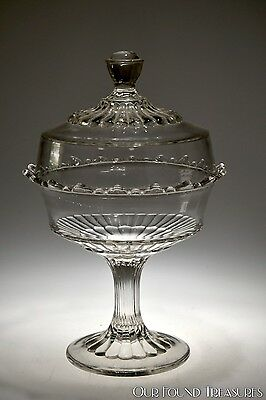 c. 1907 PLAIN PATTERN by Co-operative CRYSTAL Compote w/Cover