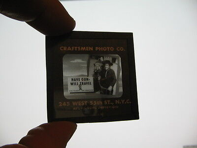 PALADIN Have Gun Will Travel 1950s TV station show western glass slide R Boone