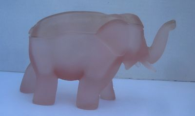 Elephant Pink Frosted Glass Covered Trinket Box Candy Dish Indiana Tiara Glass