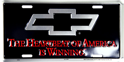 "Chevy Chevrolet Trucks Heartbeat of America 6""x12"" Aluminum License Plate Tag"