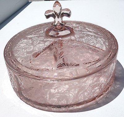 """Fostoria """"Paradise"""" 3 Part Candy w/Lid, Beautiful Orchid Color"""