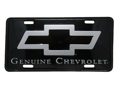 "Genuine Chevrolet Chevy Black 6""x12"" Aluminum License Plate Tag"