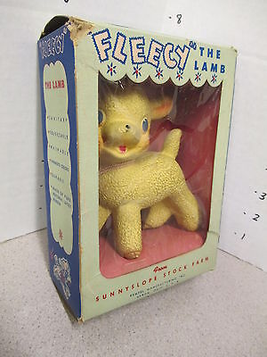 FLEECY THE LAMB Rempel 1950s sheep BOXED rubber squeeze toy doll Sunnyslope