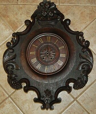 Large Antique Japy  1855 Hand Carved Black Forest French Wall Clock