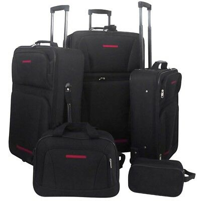 New 5pc 2 Wheeled Luggage Set Black Travel Carry On Bag Trolley Upright Suitcase