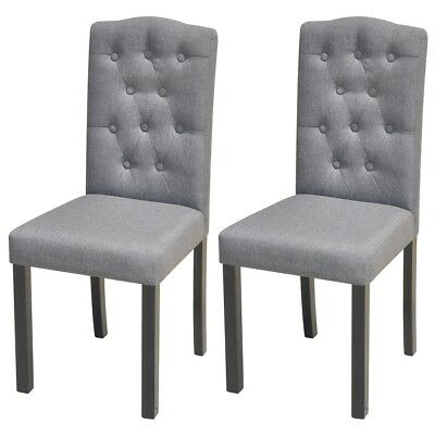 Set of 2 Fabric Upholstered Dining Chair Dark Grey Kitchen Dining Room