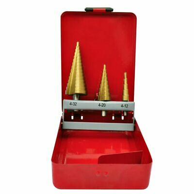 New 3pc HSS Step Cone Drill Bit Set Titanium Metric Hole Cutter 4-12/20/32mm Kit