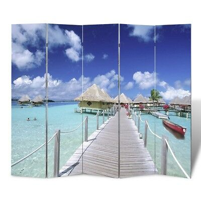 Large Folding 5 Panels Room Divider Screen Solid Wood Print Beach Privacy 200cm